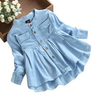 Детская блузка для маленьких девочек; Модная Джинсовая блузка с длинными рукавами и рюшами; сезон осень-зима; одежда на пуговицах; vetement enfant fille