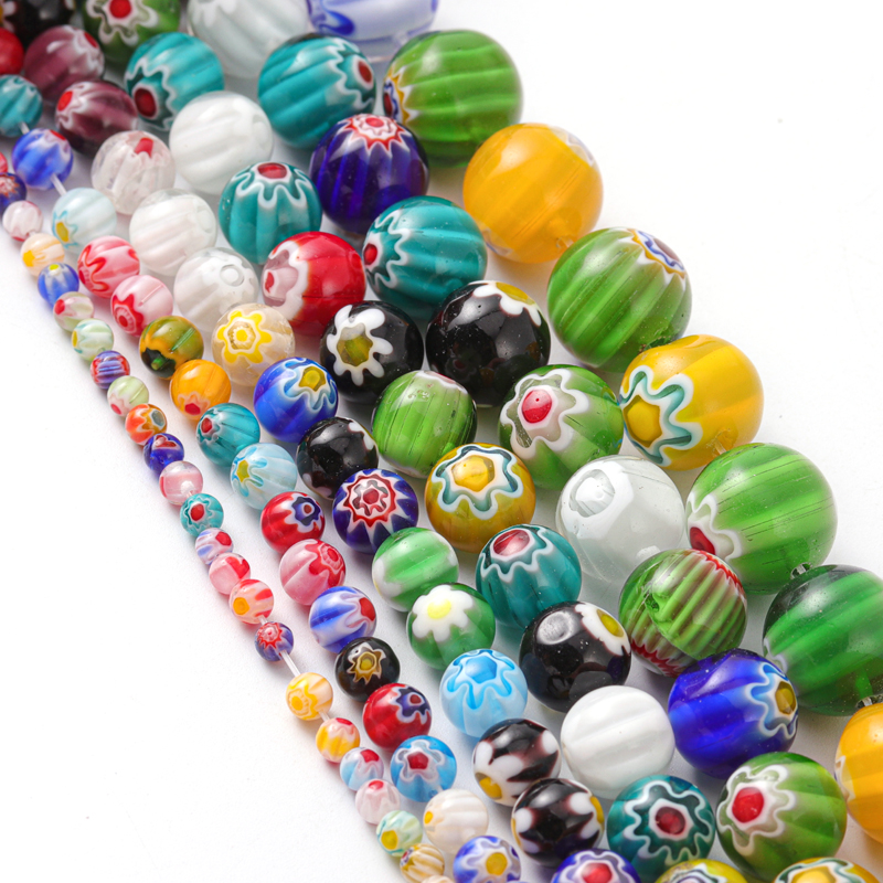 1 String Of Bohemia Colored Pattern Glass Beads Big Round Loose Beads DIY Bracelets Charms Necklace Beads For Jewelry Making(China)