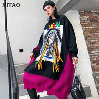 XITAO Tide Plus Size Ribbon Letter Print Dress Women Clothes 2019 Fashion Patchwork Loose Elegant Dress Pullover New XJ2443