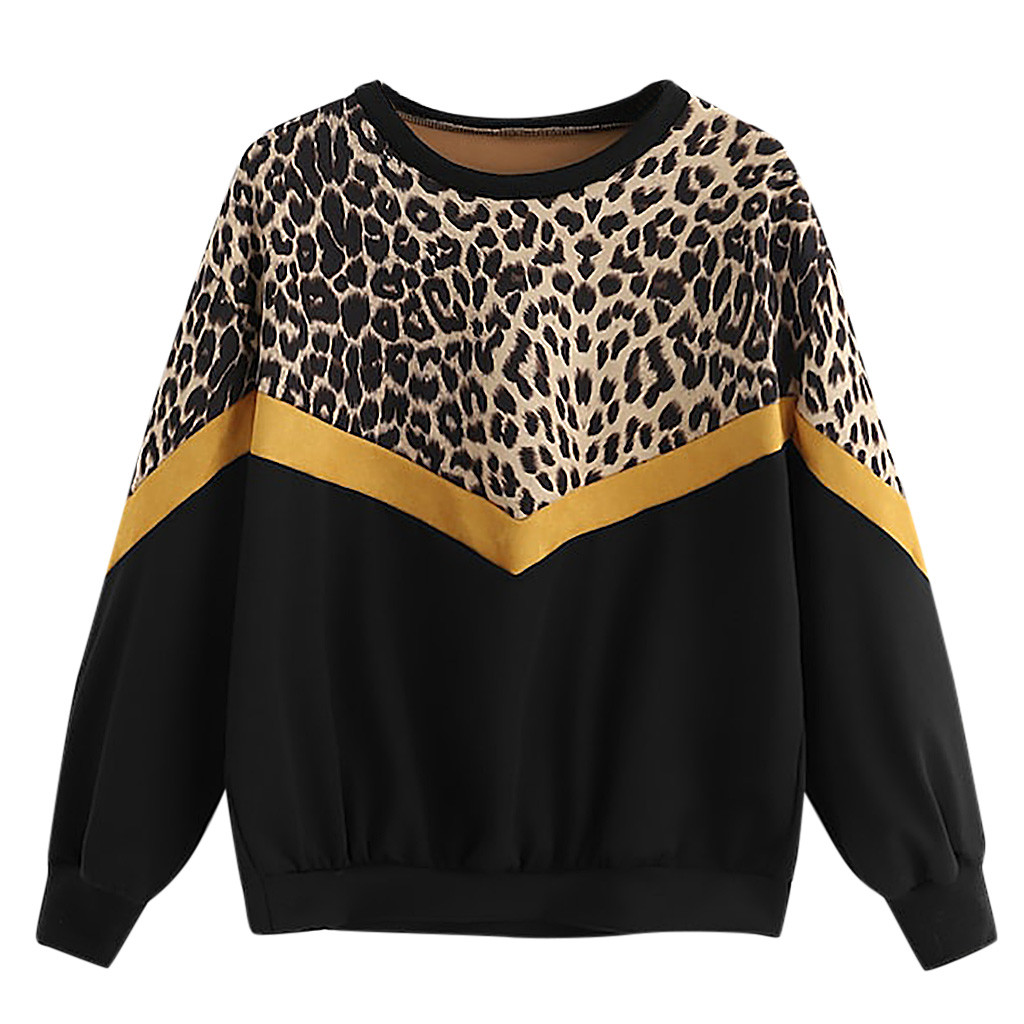 Jaycosin Fashion Womens Casual Long Sleeve Patchwork Leopard Print Sweatshirt Casual Chic Attractive O-Neck Jumper Sweatshirt