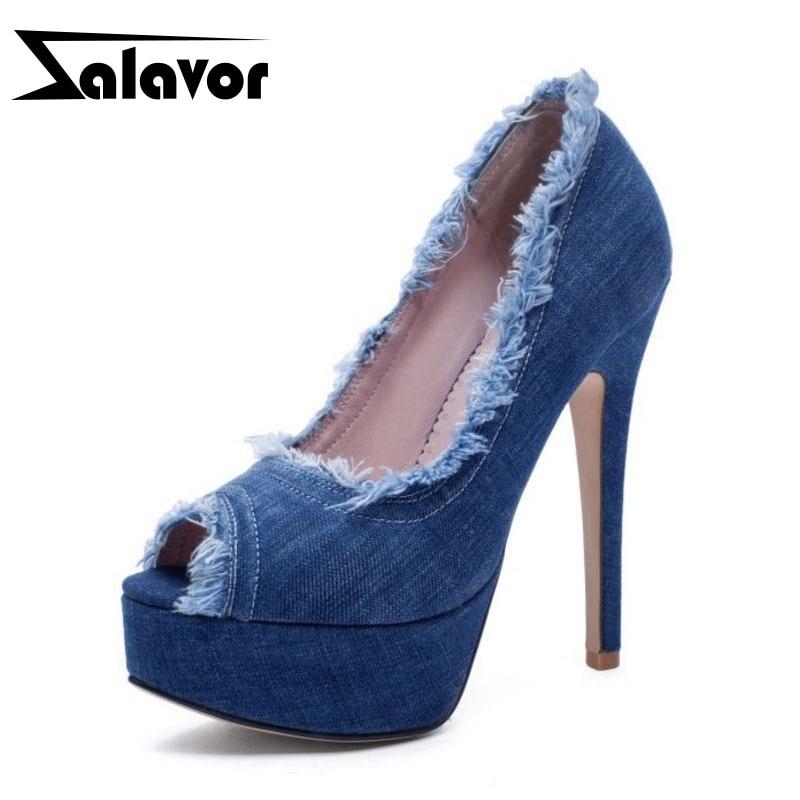 ZALAVOR Women Pumps Sexy Peep Toe High Heel Shoes Women Spring New Fashion Denim Party Nightclub Platform Shoes Size 33 43