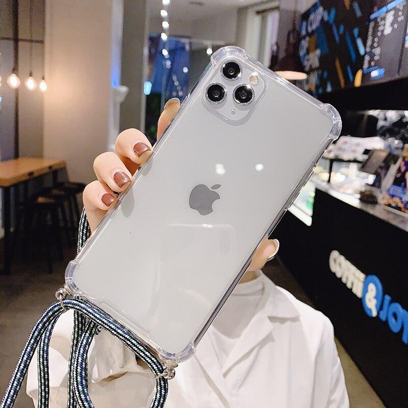 Funda de teléfono con cordón de collar para iPhone, Correa suave y transparente para iPhone 12 11 Pro Max 7 8 Plus 11Pro Max X XR XS Max 2