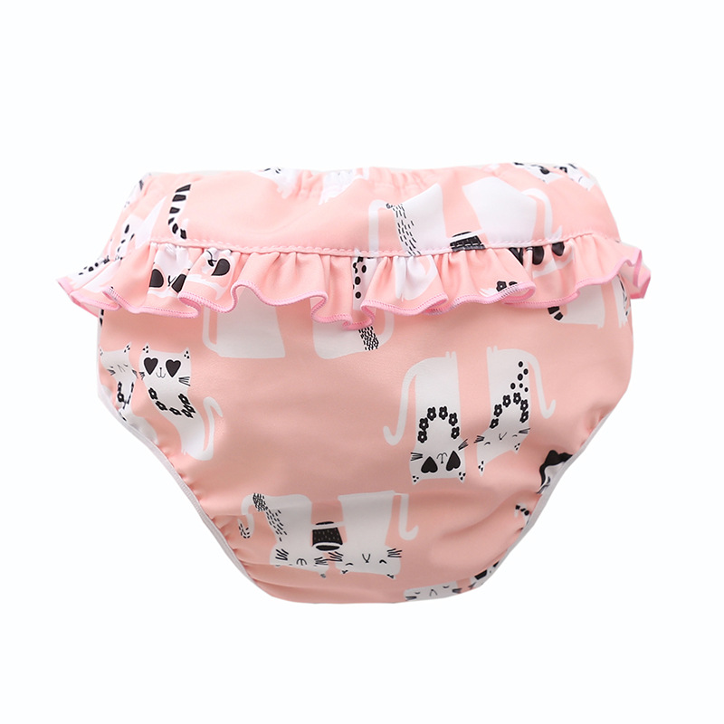 Infant Children Leak proof Swimming Nappies Newborn Baby High Waist Swimming Trunks Baby Boys Girls Cartoon Printed Swim Diapers 3