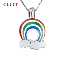 CLUCI 925 Sterling Silver Rainbow Cloud Rainday Charm Pendan