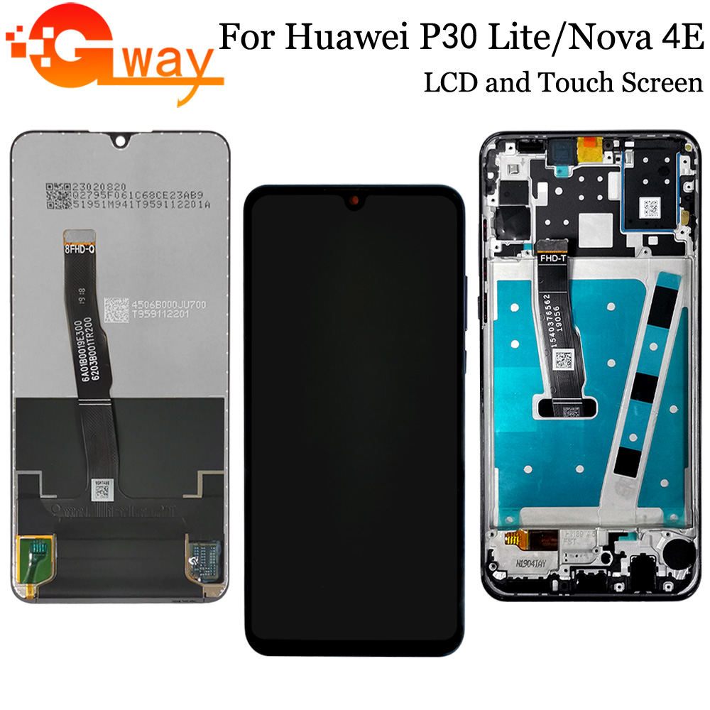 For Huawei <font><b>P30</b></font> Lite <font><b>LCD</b></font>/Huawei Nova 4E <font><b>LCD</b></font> Display+Touch Screen Digitizer+Frame Assembly For MAR-LX1M MAR-LX2L MAR-AL00 TL00 <font><b>LCD</b></font> image