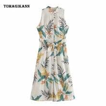 Женское платье миди с высокой талией элегантное весеннее без