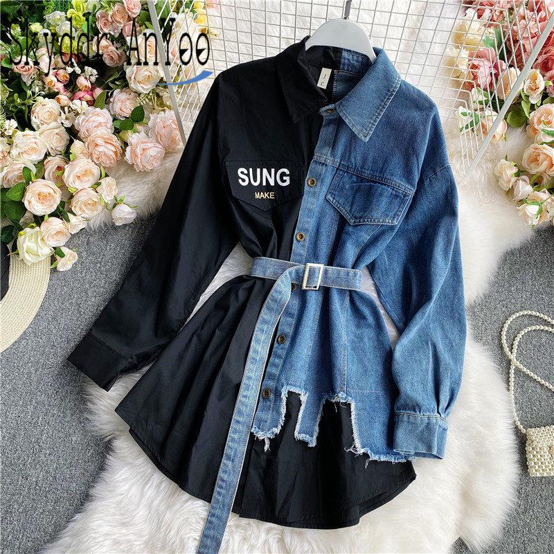 Women's Blouse 2020 Autumn Long Sleeve Shirt Tops Jeans Patchwork Plaid Blouses Elegantes Blusas para mujer Slim Shirt Dress 1