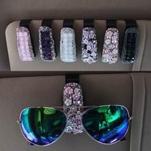 Портативный автомобиля чехлы для очков с украшением в виде кристаллов