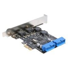 ALLOYSEED USB3.0 ajouter sur la carte avant PCI-E à 19/20 broches adaptateur d'interface USB 3.0 PCIe PCI Express carte d'extension pour ordinateur de bureau