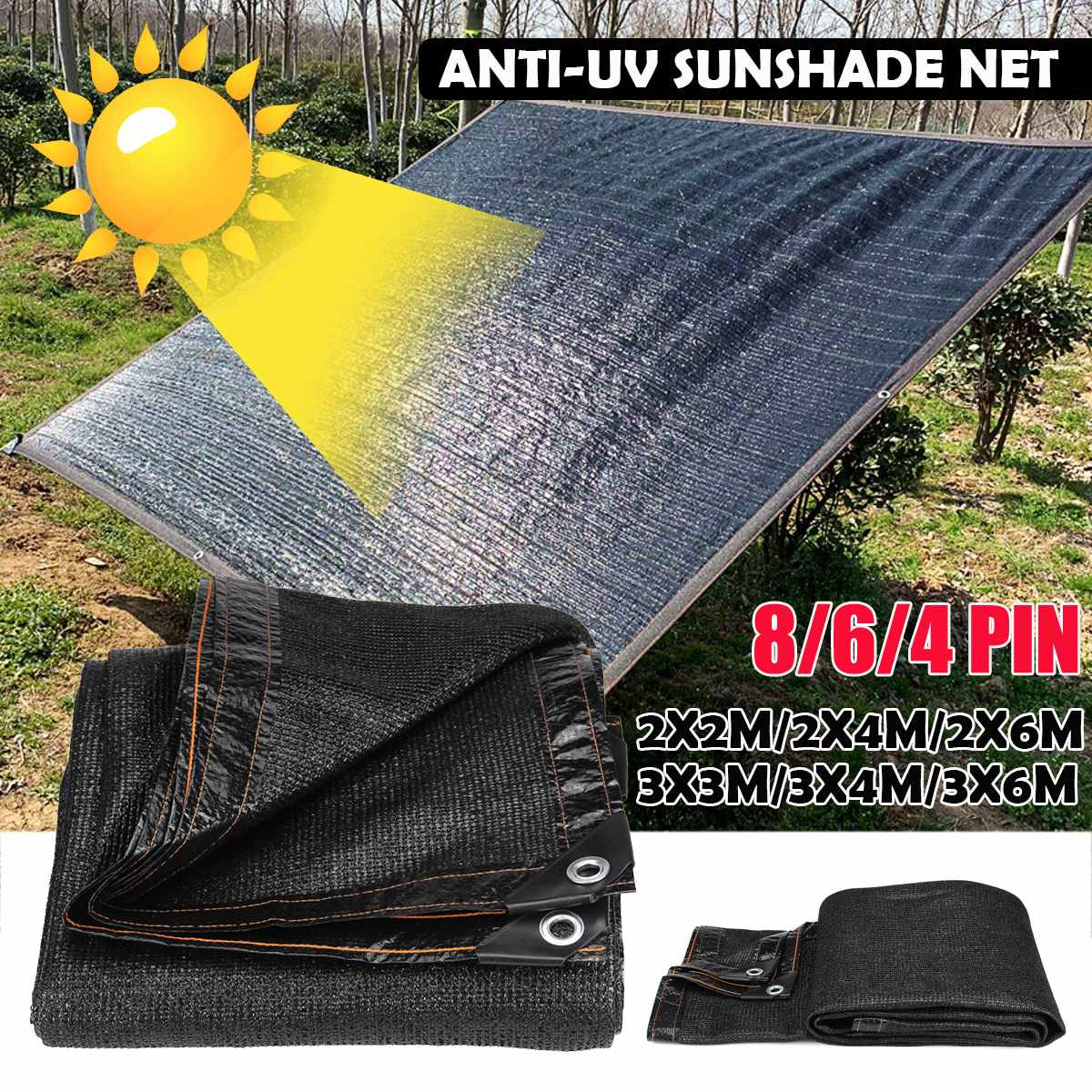 Anti-UV Sunshade Net Outdoor Garden Sunscreen Sunblock Shade Cloth Net Plant Greenhouse Cover Car Cover 55/70/85% Shading Rate