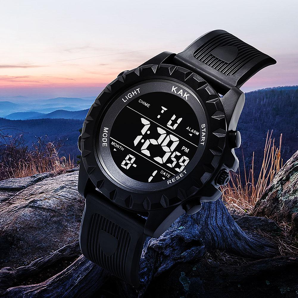 KAK Fashion Unisex Electronic Watch Men Women Students Adjustable Strap Backlight Big Dial Sports Digital Watch Zegarek Damski