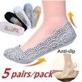 5 пар в упаковке, женские модные хлопковые невидимые нескользящие носки по щиколотку кружевные носки невидимые женские носки нескользящие ...