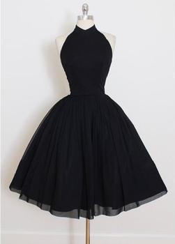 Vintage Short Black Chiffon Halter