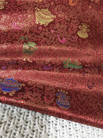 Old Old Goods Cheongsam Robe Suit Full Skirt Classical Bright Red Handmade Gold Lines 100% Real Silk Jacquard Brocade Cloth