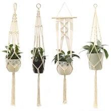 Parede pendurado vaso de flores cestas macrame flowerpot planta titular cabide handmader juta corda net vaso de flores do vintage planta cabides