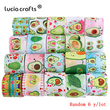 38mm Mix 6y/lot Cartoon Printed Grosgrain Ribbon Avocado Style DIY Sewing Gift Wrap Ribbon For Christmas Wedding Decor P0616