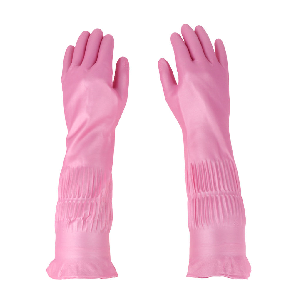 Latex&Nitrile Gloves Pink 390mm Hand Safety Protection Kitchen Cleaning