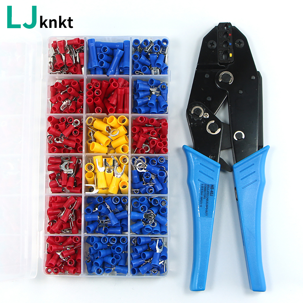 Assorted Insulated Fork U-type Set Terminals Connectors <font><b>HS</b></font>-<font><b>40J</b></font> EUROP STYLE Ratchet Pliers Pre-Insulated Terminal wire stripper image