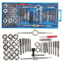40 pces torneira morrer conjunto M3-M12 rosca métrica torneiras chave kit diy parafuso rosqueamento ferramentas manuais liga de metal com saco