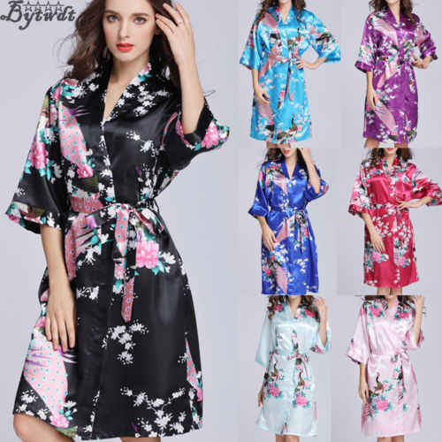 Fashion 2019 Women´s Floral Lace Up Satin Robe Kimono Dress Short Sleeve Gown Babydoll Wedding Party Bridesmaid Sleepwear New