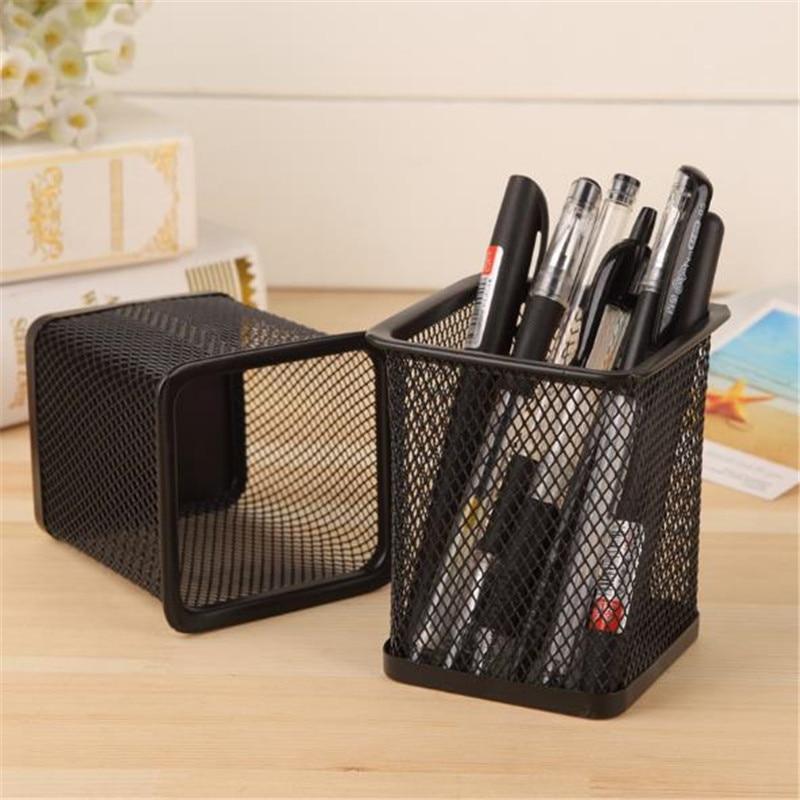 2021 New Pencil Holder Office Desk Metal Mesh Square Pen Pot Cup Case Container Organiser Durable Pencil Case