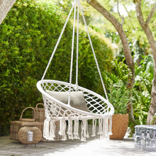 Indoor and Outdoor Hanging Chair Round Hammock Swing Chair Tassel Style with LED Light