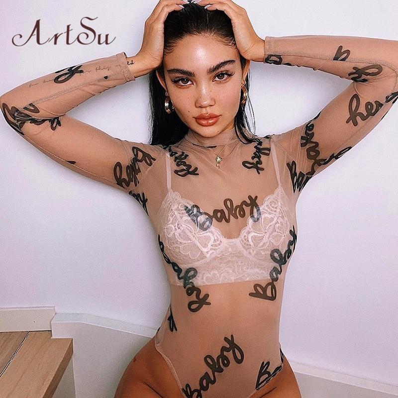 ArtSu Transparent Mesh Bodysuit Bodycon Sexy Jumpsuits Slim Long Sleeve Women Tops Letter Print Fashion Body Clothes ASJU41125