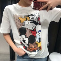 Fashion Women's Short sleeved T shirt Cartoon Mickey Mouse Print Loose Women's Top Casual Cotton Round Neck Women Clothing 1935