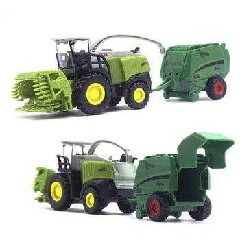 2Pcs 1/42 Diecast Tractor Harvester Farm Vehicle Car Model Kids Toy Xmas Gift Christmas And New Year Children's Gifts image
