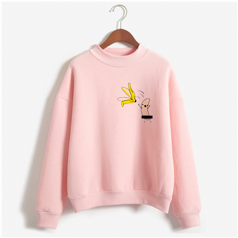 재미 있은 스웨터 여자 알몸 바나나 만화 인쇄 분홍색 o 목 까마귀 여자 귀여운 바나나 외투 까마귀 femme 가을 겨울 정상