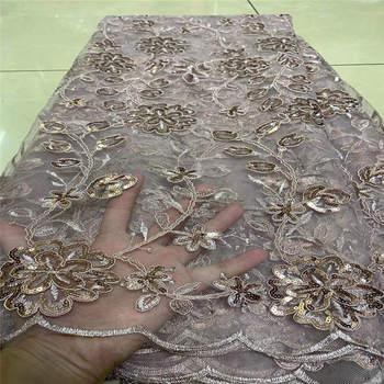 2017 Upscale French Mesh white Gold Sequins Lace Fabric,High Quality African Tulle Net Elastic Lace Fabric with Sequins Wedding