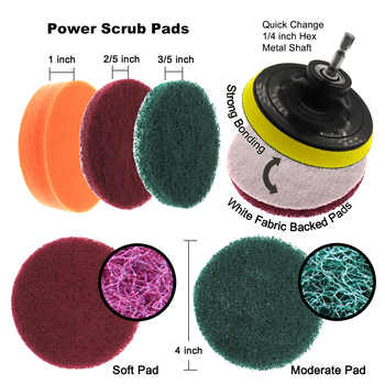 22Pcs/Set Electric Drill Brush Scrub Pads Kit Power Scrubber Cleaning Kit Cleaning Brush Scouring Pad for Carpet Glass Car Clean