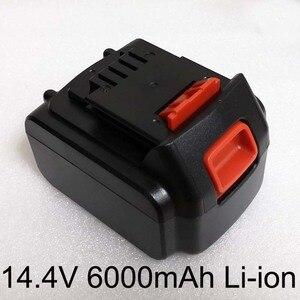 Bloco recarregável da bateria do li-íon dos eua 14.4 v 6000 mah para a chave de fenda elétrica sem fio bl1514 dcb142 da broca do decker preto