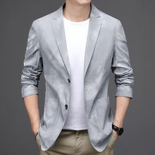 Men Blazer Costume Coat Suit Jacket Long-Sleeve Printed Male Handsome Casual Autumn Outerwear