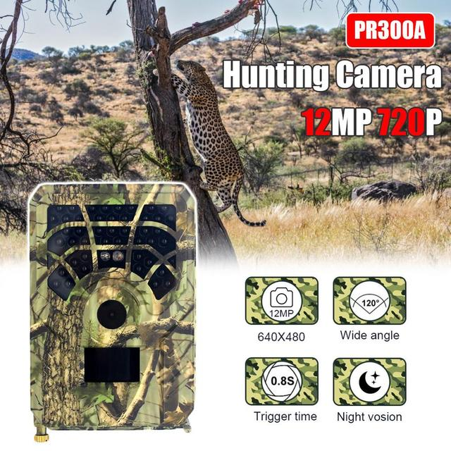 PR300A Hunting Camera 12MP 720P 120 Degrees PIR Sensor Wide Angle Infrared Night Vision Wildlife Trail Thermal Imager Video Cam