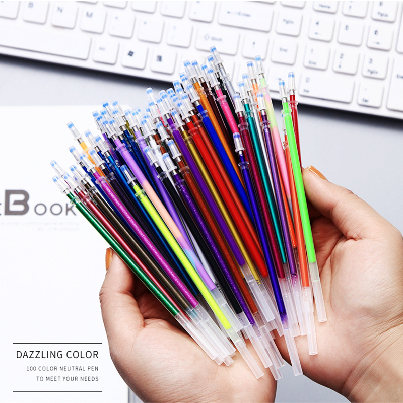48 60 100 Pcs/lot 0.7mm Cute Multicolor Gel Pen Refills Set Colorful Replaceable Refill For Writing Painting Graffiti Stationery