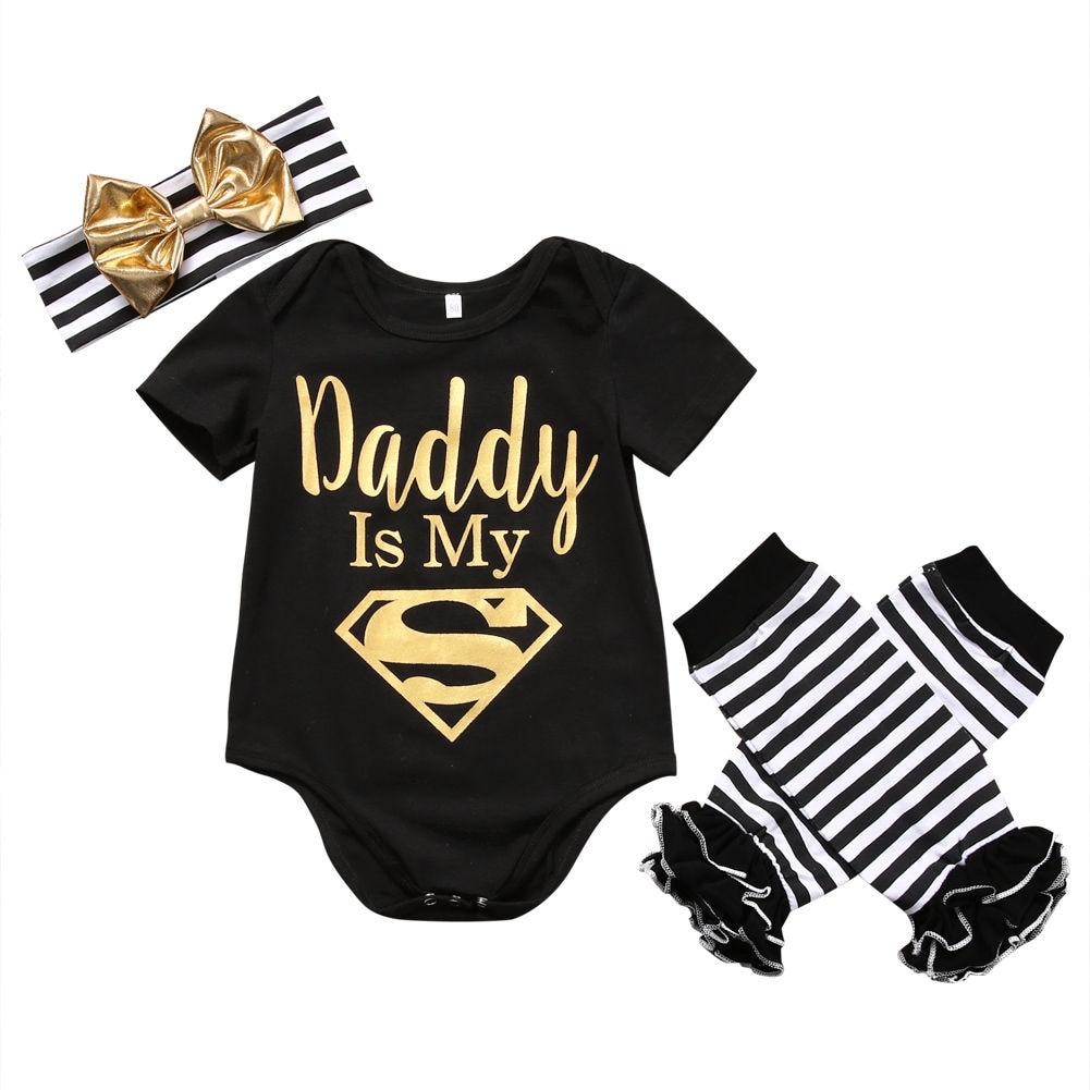 Verão roupas da menina do bebê conjunto recém-nascido infantil manga curta carta do bebê macacão + striled perna mais quente bandana 3pcs roupas da criança