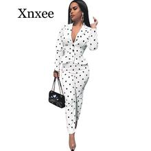Women Notched Collar Polka Dot Ruffles Blazer Coat and High Waist Pant Suits Elegant Workwear Business Office Lady 2 Piece Set