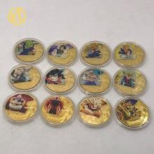 DBZ01 chapadas en oro-Monedas de 22 diseños, Son Goku, bebita, Bulma, Torankusu, Kuririn