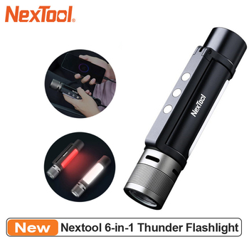 NEXTOOL 6-in-1 1000lm Dual-light Zoomable Alarm Flashlight USB-C Rechargeable Mobile Power Bank Magnetic Camping Work