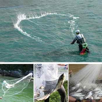Yeahmart Full Spread Fish Cast Net Fishing Network Single Small Mesh Nylon Outdoor Hand Throw Catch Fishing Net Tool 240CM 360CM