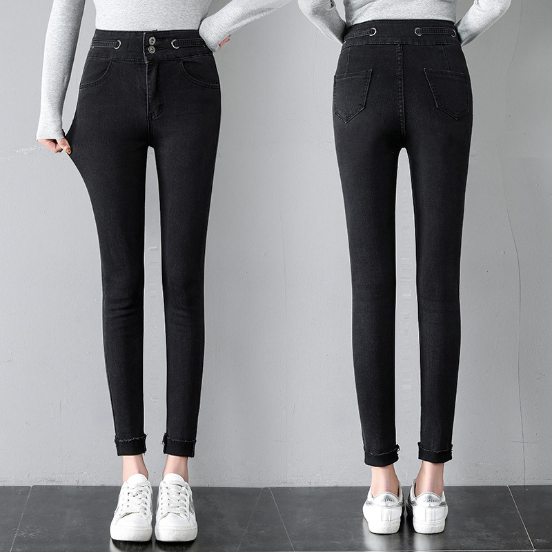 2019 Spring Clothing New Style Online Celebrity Slimming Tight High-waisted Circular Ring Capri Skinny Jeans Women's