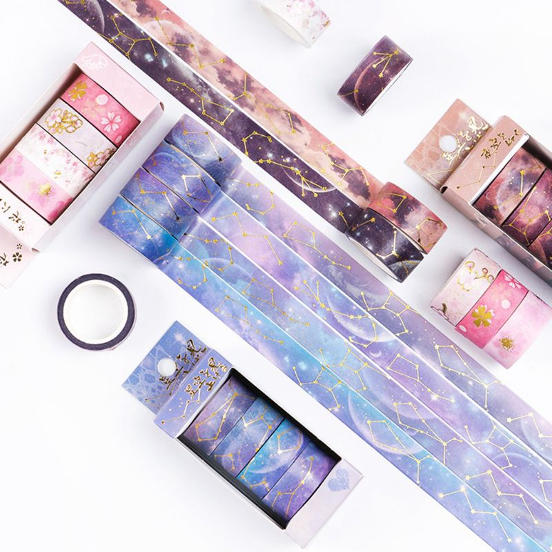 Starry Sky Cherry Blossoms Washi Tape Adhesive Tape DIY Scrapbooking Sticker