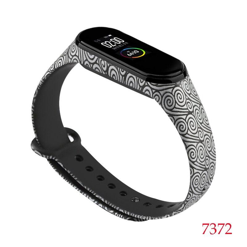 Для Xiaomi Mi Band 4/3 ремешок Металлическая пряжка силиконовый браслет аксессуары miband 3 браслет Miband 4 ремешок для часов М - Цвет: 7372