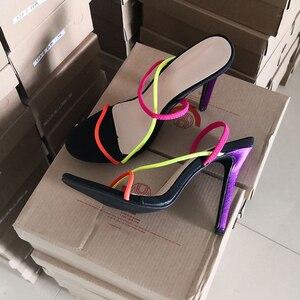 Image 5 - Kcenid 2020 nouvelle mode femme sandales ouvertes été sexy mince talons hauts robe dame chaussures sans lacet coloré fête sandales grande taille