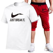 Fashion mens summer hot sale suit T-shirt + shorts two-piece casual sportswear new GYM fitness sports