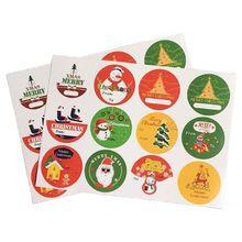 120Pc Hand Made Christmas Tree Snowman Round Self-adhesive sealing Label Sticker