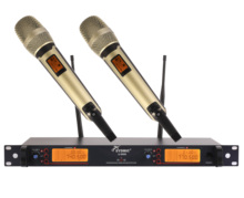 Free Shipping New Product  Pro UHF Wireless 200 Channel Microphone System 2 Champagne Gold Color Handheld Microphones Mic new product free shipping ew300 iem g2 ew300g2 professional monitor system with in earphone wireless microphone system