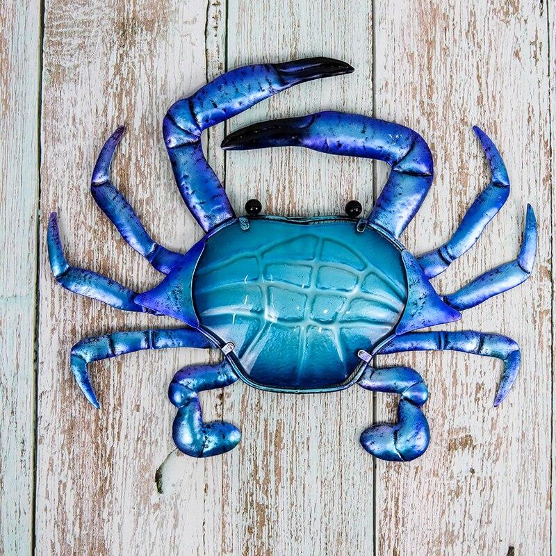 Металл синий краб стена произведения искусства для дома и сада украшения на открытом воздухе статуи миниатюры и скульптуры