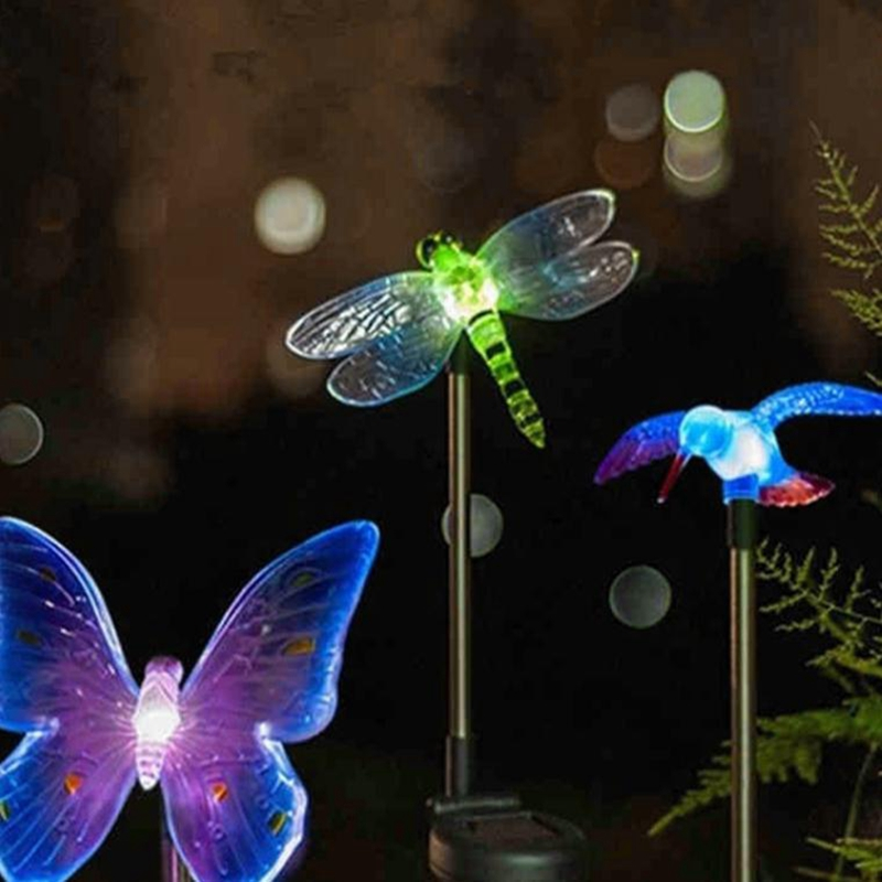 RGB في الهواء الطلق أدى أضواء الحديقة مصابيح حديقة للماء ل حديقة الديكور فراشة الطيور اليعسوب الجدة الفن الشمسية مصباح ديكور